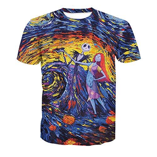 RJHWY 3D T-Shirt Mit Rundhalsausschnitt Schwere kurzärmlige Unisex-Anime-Sommer Unterhemd Jack Skellington (Jack Skellington Kostüm Kind Größe)