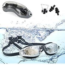 Gafas de natación, claro cómodas gafas de natacion con electrochapa anti niebla,anti -UV, ultra alta calidad Swim Goggle para hombres adultos Mujeres jóvenes y niños ( -6.0 )