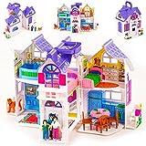 Puppenhaus mit Möbel Puppenstube Zubehör Einrichtung Spielhaus 2 Etagen Puppen Haus Puppenstube Zubehör KP9142 Kunststoff Spielzeug Puppenhaus Puppen