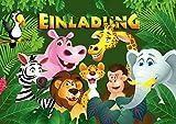 12 Einladungskarten ZOO-TIERE/Geburtstagseinladungen Jungen Mädchen Kinder: 12-er Set Einladungen für den Kindergeburtstag im Zoo/Safaripark/Regenwaldhaus von EDITION COLIBRI (10968)