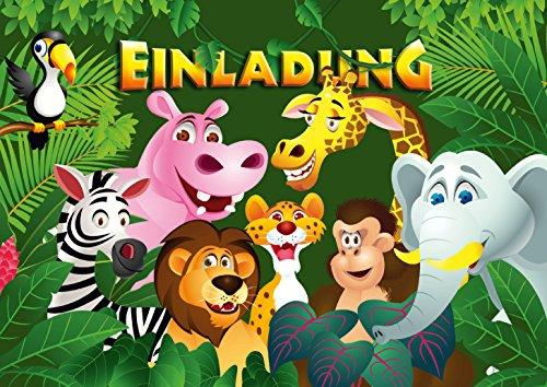 """12 Einladungskarten\""""ZOO-TIERE\"""" / Geburtstagseinladungen Jungen Mädchen Kinder: 12-er Set Einladungen für den Kindergeburtstag im Zoo/Safaripark/Regenwaldhaus von EDITION COLIBRI (10968)"""