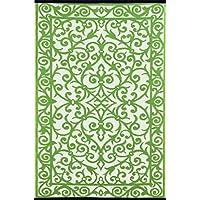 Green Decore Alfombra de plástico ligera y reversible Gala para interior y exterior con diseño de plantas jardín\marfil - 150x240cm