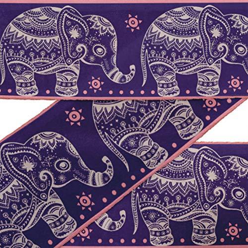 rt Blau Aztec & Stammes-Elefant Tier Samtbesatz Stoff Nähen Stoff Spitze Schneiderei gedruckt Nähen Spitze 9 Yard 3 Zoll ()