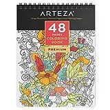 ARTEZA® Livre à colorier à Reliure Spirale pour Adultes, 48 Pages, Idéal pour soulagement du Stress
