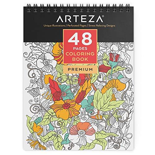 Arteza libro da colorare per adulti, mandala, 48 pagine, rilegato ad anelle, ideale come antistress e art therapy