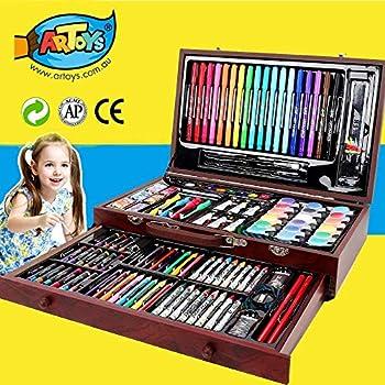 Malkasten Malkoffer Set für Kinder mit 180 Pcs Buntstifte Wachsmalstifte Pinsel