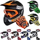 Leopard LEO-X19 PREDATOR Kids Motocross HELMET & GLOVES & GOGGLES Orange L (53-54cm) Children Quad Bike ATV Go Karting Helmet