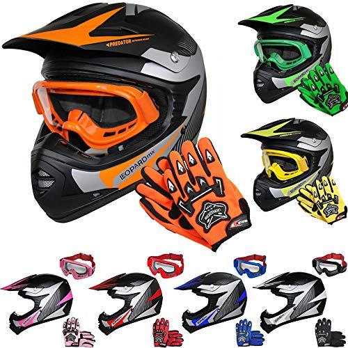 Leopard LEO-X19 Kinder Motocross MX Helm { Motorradhelm + Handschuhe + Brille} Orange XL (55cm) ECE Genehmigt Crosshelm Kinderquad Off Road Enduro Sport