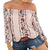 ESAILQ Frauen Mädchen Strapless Star Sweatshirt Langarm Crop Jumper Pullover Tops (L, Beige)