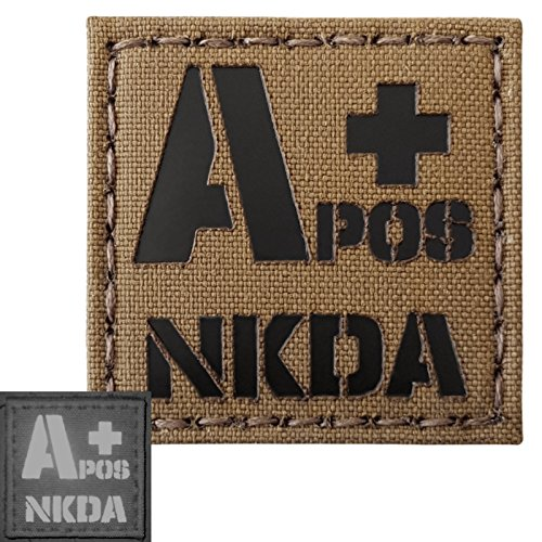 Coyote Brown Tan Infrared IR APOS NKDA A+ Blood Type 2x2 Tactical Morale Touch Fastener Patch - Blood Type Patches