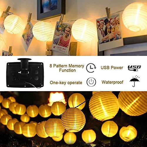 Tobbiheim Solar Lichterkette mit USB Ladung 20 LED Laterne 5 Meter Lampions Super Lange Beleuchtungszeit Wasserdicht IP68 Outdoor Garten Außenbeleuchtung mit 2M Zuleitung – Warmweiß - 3