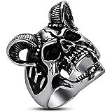 BOBIJOO Jewelry Bague Chevali/ère T/ête de B/élier Homme Acier Massif Inoxydable Force Nature Astro