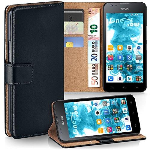 moex Huawei Y550 | Hülle Schwarz mit Karten-Fach 360° Book Klapp-Hülle Handytasche Kunst-Leder Handyhülle für Huawei Ascend Y550 Case Flip Cover Schutzhülle Tasche