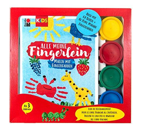 Marabu Kids 0303000000083 - Fingerfarbe auf Wasserbasis, parabenfrei, vegan, laktosefrei, glutenfrei, inklusive Buch Alle meine Fingerlein, 4 x 35 ml