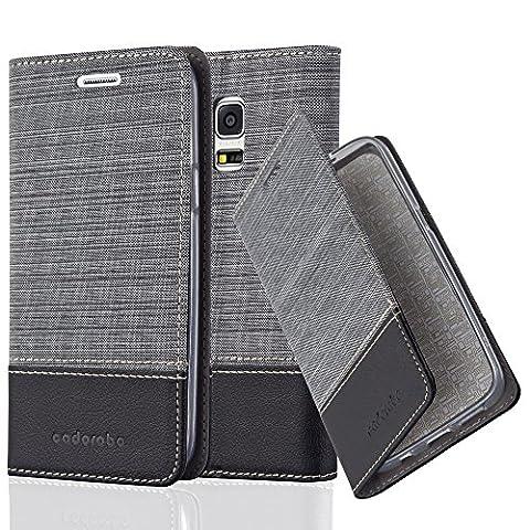 Cadorabo - Etui Housse pour Samsung Galaxy S5 MINI - Coque Case Cover Bumper Portefeuille en Design Tissue-Similicuir avec Stand Horizontale, Fentes pour Cartes et Fermeture Magnétique Invisible en