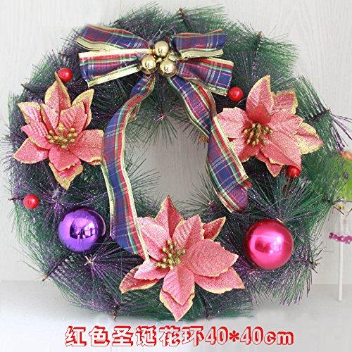 VHVCX Weihnachtskranz Dekoration Fenster Szene Layout Vine Kranz Türkranz Hängende Ornamente Groß, Mittel Goldener Weihnachtskranz