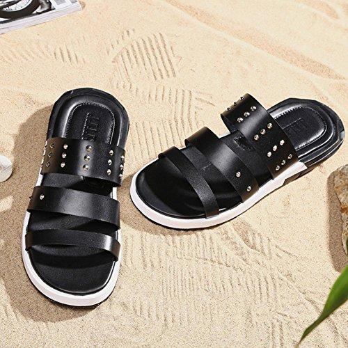 Mens Thick Soles Slipper echtes Leder Sandalen für Sommer Mode und bequem zu tragen vt16803 black