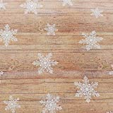 Stoff Meterware Baumwolle Holz Eiskristall Schneeflocke