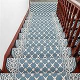 Liveinu Moderner Stil Selbstklebend Stufenmatten Treppen Teppich Halbrund Waschbar Starke Befestigung Anthrazit Treppen-Matten 24x75cm (15 Stück) Blau