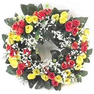 Corona de flores artificiales, de 30cm, con rosas en colores naranja y amarillo, para velas en interiores y exteriores, ideal para decoración en bodas, cementerios o en casas