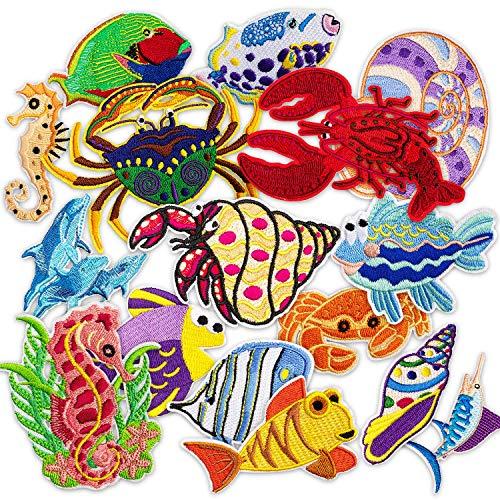 MUSCCCM Bügelflicken Kinder, 16 Stück Patches zum Aufbügeln Meerestiere Aufnäher Applikation Flicken Zum Aufbügeln für DIY T-Shirt Jeans Kleidung Taschen
