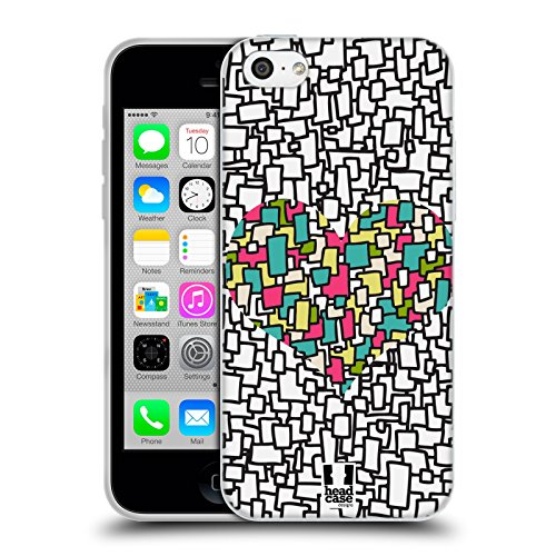 Head Case Designs Mosaic Heart Collection Soft Gel Case for Apple iPhone 5c