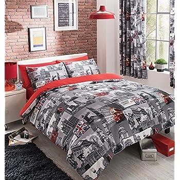 gaveno cavalia housse de couette et taie d 39 oreiller modernes polycoton imprim london gris rouge. Black Bedroom Furniture Sets. Home Design Ideas