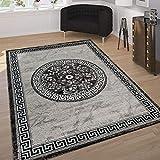 Paco Home Tappeto Designer Classiche Bordura Orientale Decorazioni Nero Gris Bianco, Dimensione:80x150 cm