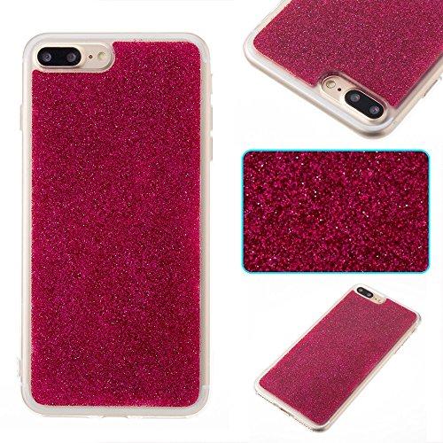 Soft Flexible Silikon TPU Gel Cover Case [Anti-Kratzer] Glänzende Glitter 360 ° Volldeckung Rückseitige Abdeckung [Shockproof] für iPhone 7 Plus ( Color : Red ) Red