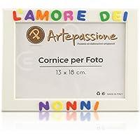Cornici per foto in legno con la scritta L'Amore Dei Nonni, da appoggiare o appendere, misura 13x18 cm Bianca. Ideale…