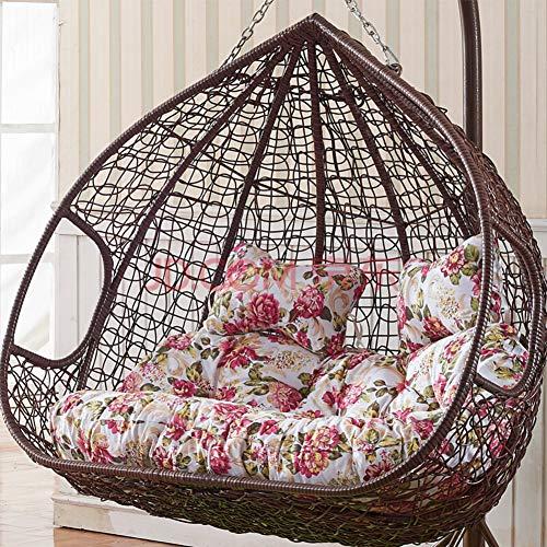 Single Rattan Hängesessel Swing Sitzkissen Dick Swing Chair Stuhlkissen Balkon Bird's Nest Stuhlkissen Hof Garten Sessel Sitzkissen(Nicht Einschließen Hängende Stühle)-c Doppelt