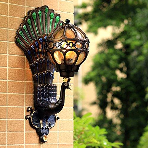 AMOS Lampe de mur de paon imperméable à l'eau européenne salon rétro cour lumières balcon couloir allée LED fond mur lampe