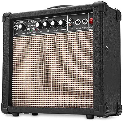 Rocktile Scream 15 - Amplificador de guitarra (15 W, 2 canales, portátil, entrada AUX-In para MP3 y CD, ecualizador tribanda, conexión para auriculares)