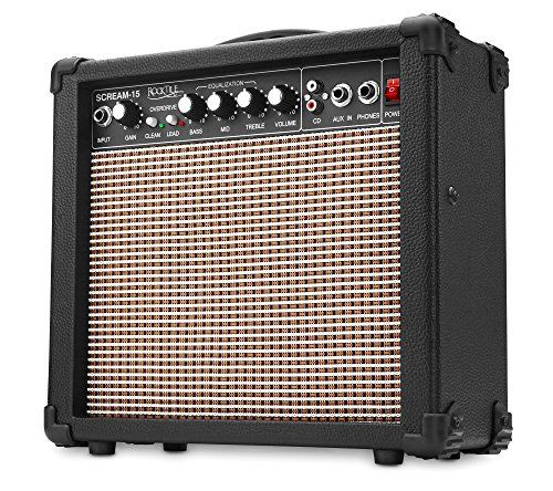 Rocktile Scream 15 Gitarrenverstärker Mini Combo Amp (15 Watt Amplifier, 2-Kanäle, Portable, AUX-In für MP3/CD, 3-Band Equalizer, - Amp Mp3