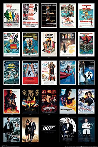 James Bond Movie Maxi Poster, Wood, Multi-Colour