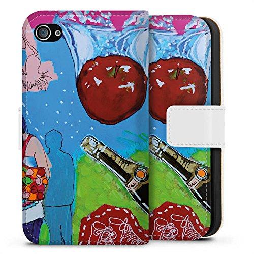 Apple iPhone X Silikon Hülle Case Schutzhülle Menschen Apfel Flasche Sideflip Tasche weiß