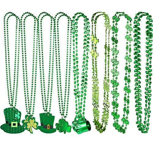 Chuangdi 16 Stück St. Patrick's Day Halsketten Klee Shamrock Grün Party Hut Perlen Anhänger Halskette in 8 Arten für Party Kostüm ()