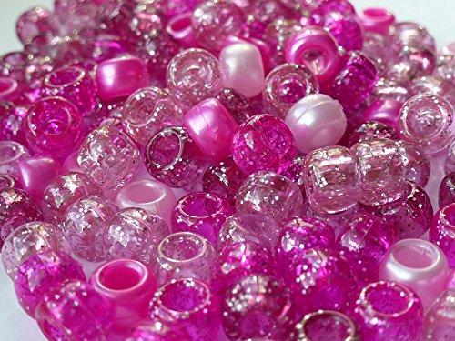 Pony Beads Perlen, blickdicht, 100 Stück, 9 mm x 6 mm, PINK mit Glitzer-MIX 3 kaufen, 1 Gratis-Armband Geflecht Loom Gummiringe Schnuller-Clips, Haar-Farbe: Acryl, Kunststoff-Gehäuse, Ketten-Perlen und CharmsBeads and Charms Perlen aus Kunststoff, für Armbänder, Loom Bands, 9x6mm, Pink glitzernd, 100Stück -