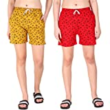 Kavya Retail Casual Wear Cotton Fabric Check Printed Shorts for Women's and Girl's Pack of 2 (Size-26, 28, 30, 32, 34…