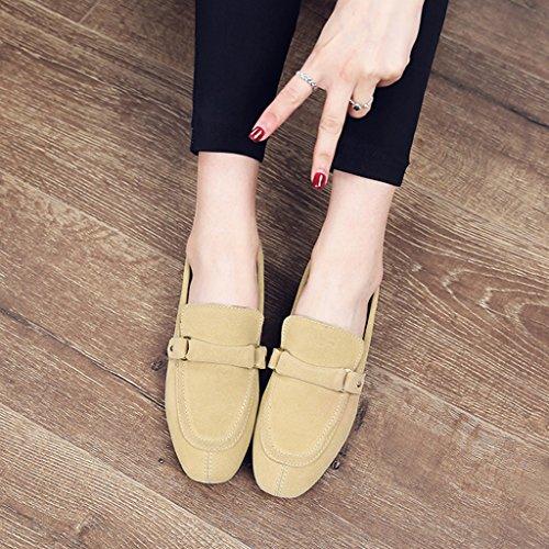 Hwf Chaussures Femme Printemps De Chaussures Pour Femmes De Style Britannique Bouche Peu Profonde Unique Casual Chaussures Plates Chaussures En Cuir Pour Femmes À Pédales Paresseuses (couleur: Beige, Taille: 39) Beige
