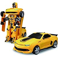 Inrange Transform Robot Car with 3D Light and Music Toy for Kids, Battery Operated (Yellow)