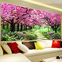 AIGUFENG Hecho a mano en punto de cruz acabado cerezo jardín salón paisaje cerezo lleno de pintura decorativa bordada,Cherry Garden 185 * 80cm