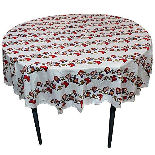 Imprimé Floral nappe ronde Base blanche en coton tissu indien Table Decor 177 Cm
