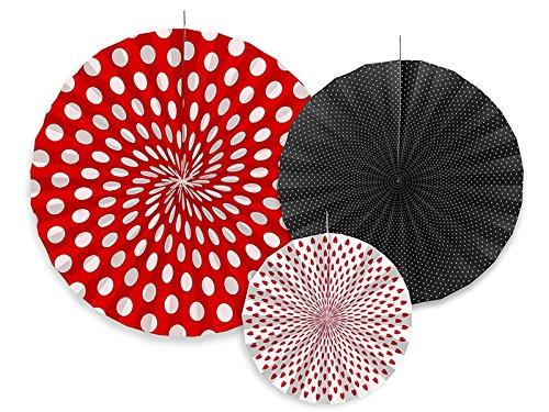SiDeSo® 3 Rosetten Deko Party Hochzeit Geburtstag (rot weiß schwarz)
