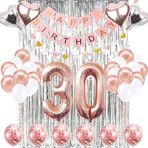 30. Geburtstag Dekorationen Banner Ballon, Alles Gute zum Geburtstag Banner, 30. Rose Gold Anzahl Luftballons, Nummer 30 Geburtstag Luftballons, 30 Jahre alt Geburtstag Dekoration Lieferungen (Ihr Für Geburtstag-dekorationen 30.)