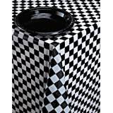 Tablecover Black/White Check for Disposable Party Tableware