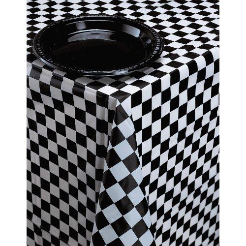 Creative Converting Kunststoff-Tischdecke für Festtafel, schwarz kariert (Geschirr Karierte)