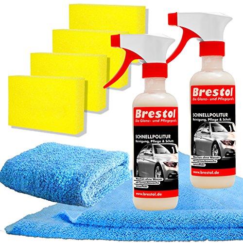 Brestol Schnellpolitur Set8 (2X 300 ml + Zubehör) - Wow Waschen ohne Wasser - Autopolitur mit Carnaubawachs - Reiniger und Versiegelung für folierte Fahrzeuge - Folienversiegelung Folienreiniger