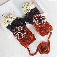 AJUNR ajunt de Schöner como guantes de invierno y guantes de invierno verdickung Áspero lana escolar; fríos Guantes, azul marino