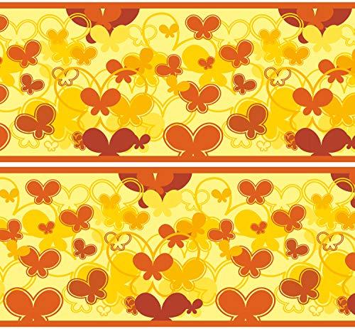 """Selbstklebende Bordüre \""""Schmetterlinge Gelb\"""", 4-teilig 560x15cm, Tapetenbordüre, Wandbordüre, Borte, Wanddeko,Muster, orange"""